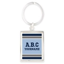 Blue and Gray Jersey Stripes Per Portrait Keychain