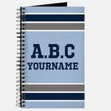 Blue and Gray Jersey Stripes Personalized Journal