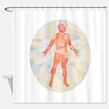 Gross Anatomy Male Oval Low Polygon Shower Curtain