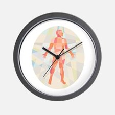 Gross Anatomy Male Oval Low Polygon Wall Clock