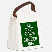 Keep Calm and Soccer On Canvas Lunch Bag