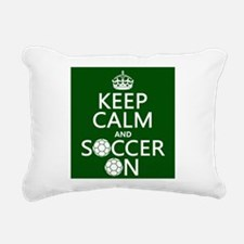 Keep Calm and Soccer On Rectangular Canvas Pillow