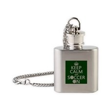 Keep Calm and Soccer On Flask Necklace