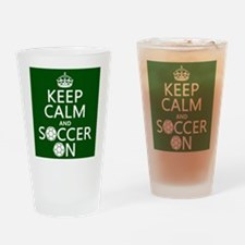 Keep Calm and Soccer On Drinking Glass