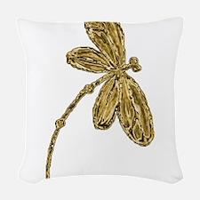 Golden Dragonfly Woven Throw Pillow