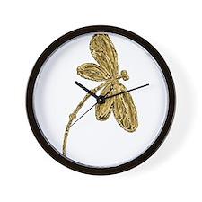 Golden Dragonfly Wall Clock