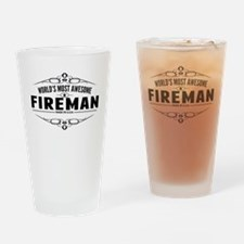 Worlds Most Awesome Fireman Drinking Glass