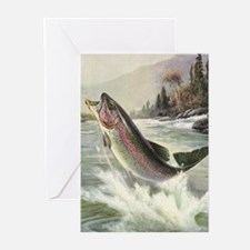Vintage Fishing, Rainbow Trout Greeting Cards