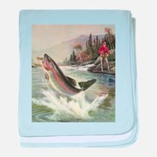 Vintage Fishing, Rainbow Trout baby blanket