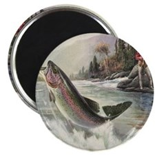 Vintage Fishing, Rainbow Trout Magnets
