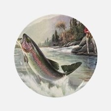 """Vintage Fishing, Rainbow Tr 3.5"""" Button (100 pack)"""