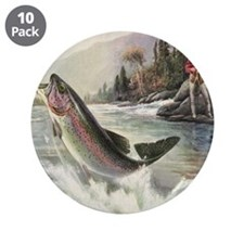 """Vintage Fishing, Rainbow Tro 3.5"""" Button (10 pack)"""