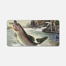 Vintage Fishing, Rainbow Tr Aluminum License Plate
