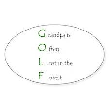 Grandpa Golf Oval Decal