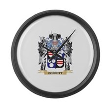 Bennett Coat of Arms - Family Cre Large Wall Clock