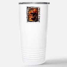 Burning Skull fused into the wall Travel Mug