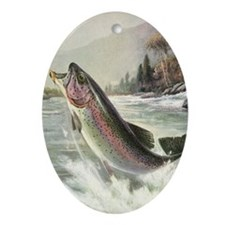 Vintage Fishing, Rainbow Trout Ornament (Oval)