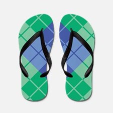 Blue-Green Argyle Flip Flops