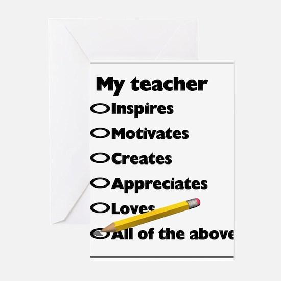 Cute Thank you teacher Greeting Cards (Pk of 20)