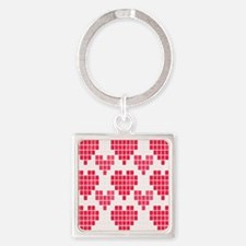 Pink Hearts Square Keychain