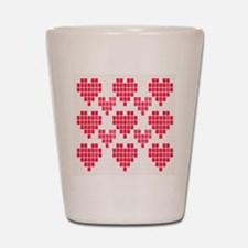Pink Hearts Shot Glass