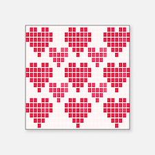 "Pink Hearts Square Sticker 3"" x 3"""