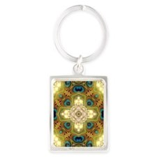 Peacock Glow Cross Keychains