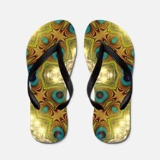 Peacock Glow Cross Flip Flops
