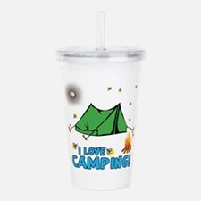 I Love Camping-2-Blue Acrylic Double-Wall Tumbler