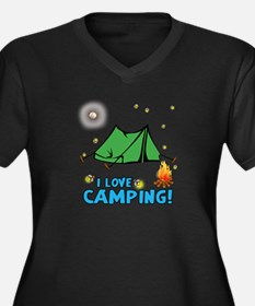 I love camping-2-Blue Plus Size T-Shirt