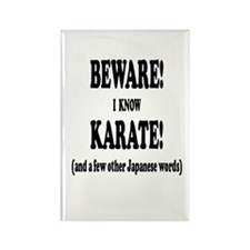 BEWARE I KNOW KARATE AND SEVERAL  Rectangle Magnet