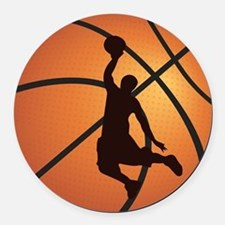 Basketball dunk Round Car Magnet
