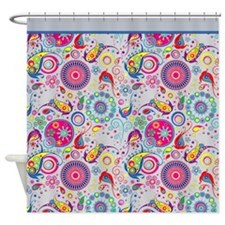 Flowers and Bugs on Acid on GREY Shower Curtain