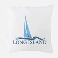 Long Island - New York. Woven Throw Pillow