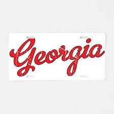 Georgia Script Red VINTAGE Aluminum License Plate