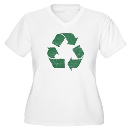 Vintage Green Recycle Sign Women's Plus Size V-Nec