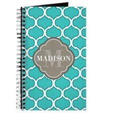 Monogram Grey Quatrefoil Teal Lattice Journal