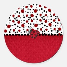 Ladybugs and Dots Round Car Magnet