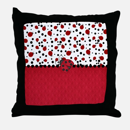 Ladybugs and Dots Throw Pillow