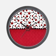 Ladybugs and Dots Wall Clock