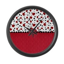Ladybugs and Dots Large Wall Clock