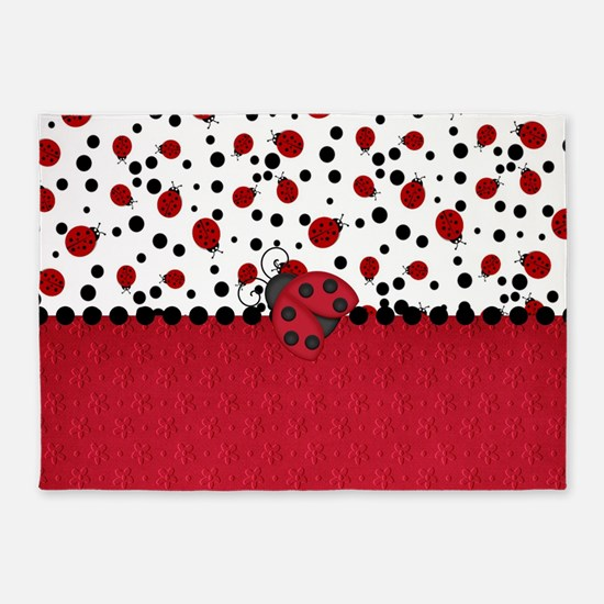 Ladybugs and Dots 5'x7'Area Rug