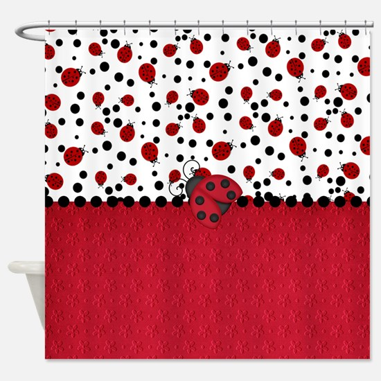 Ladybugs and Dots Shower Curtain
