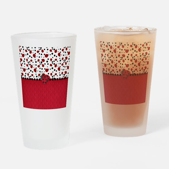Ladybugs and Dots Drinking Glass
