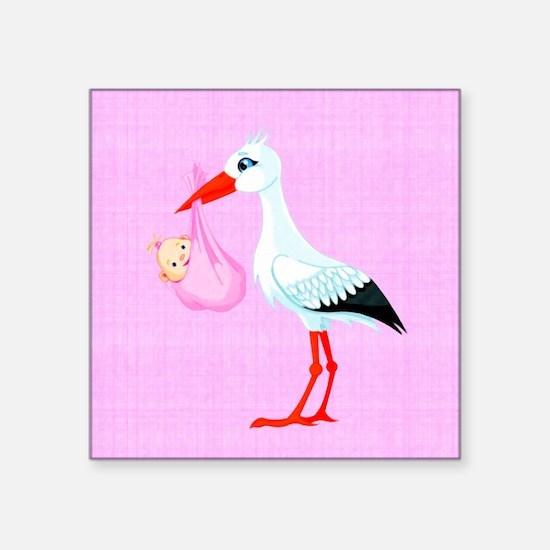 "Girl Bundle of Joy Square Sticker 3"" x 3"""