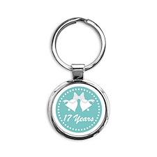 17th Anniversary Wedding Bells Round Keychain