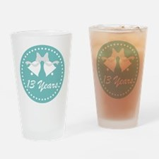 13th Anniversary Wedding Bells Drinking Glass