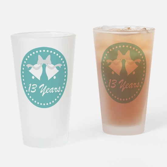 13th Anniversary Wedding Bells Drinking Glass