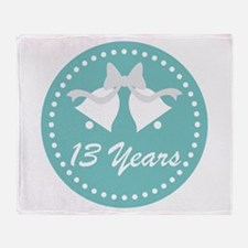13th Anniversary Wedding Bells Throw Blanket