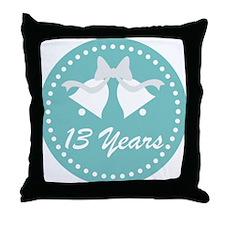 13th Anniversary Wedding Bells Throw Pillow